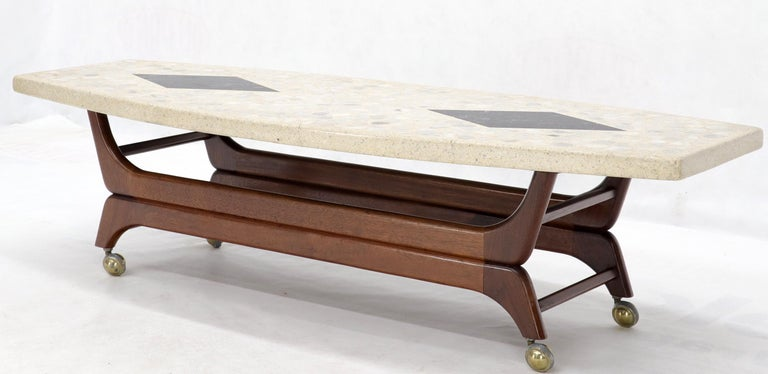 Terrazzo Stone Inlay Boat Shape Oiled Walnut Base Coffee Table In Good Condition For Sale In Rockaway, NJ