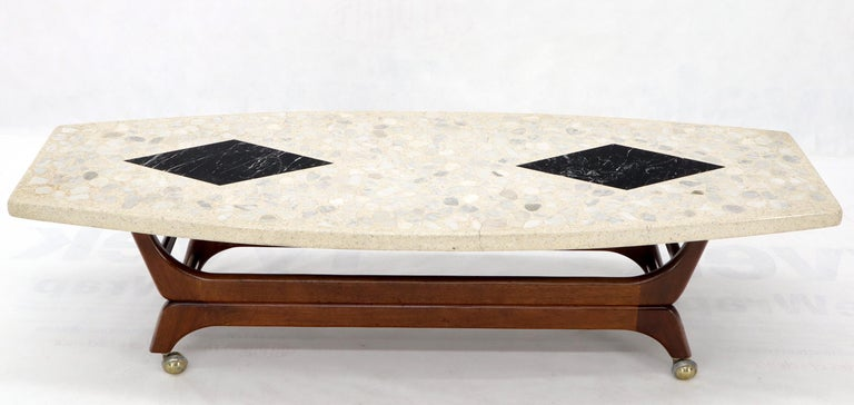 20th Century Terrazzo Stone Inlay Boat Shape Oiled Walnut Base Coffee Table For Sale