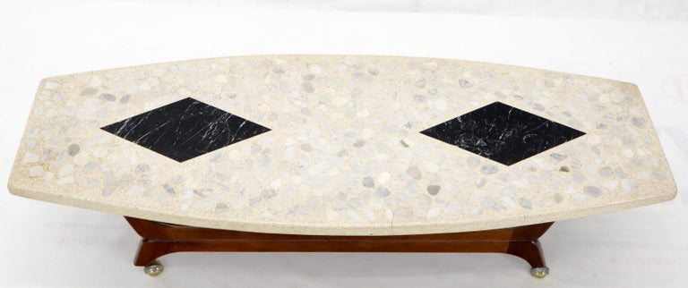 Terrazzo Stone Inlay Boat Shape Oiled Walnut Base Coffee Table For Sale 2