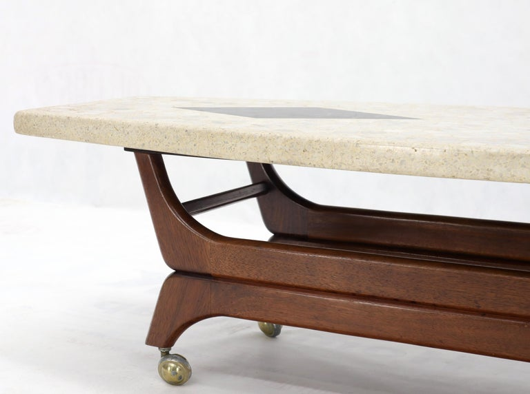 Terrazzo Stone Inlay Boat Shape Oiled Walnut Base Coffee Table For Sale 3