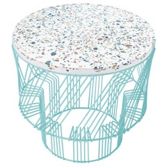 Terrazzo Table, Wire Side Table by Bend Goods in Aqua