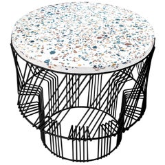 Terrazzo Table, Wire Side Table by Bend Goods in Black