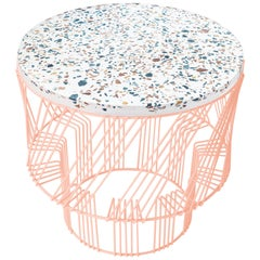 Terrazzo Table, Wire Side Table by Bend Goods in Peachy Pink