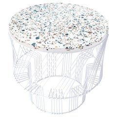 Terrazzo Table, Wire Side Table by Bend Goods in White