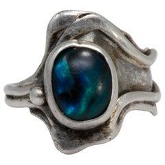 Terrence Martza Zuni Sterling Silver Gemstone Ring, Native American