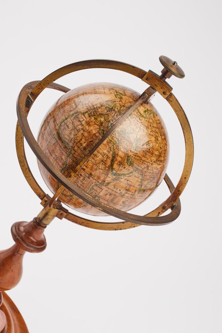 French Terrestrial Globe Signed Delamarche, Paris, 1864 For Sale