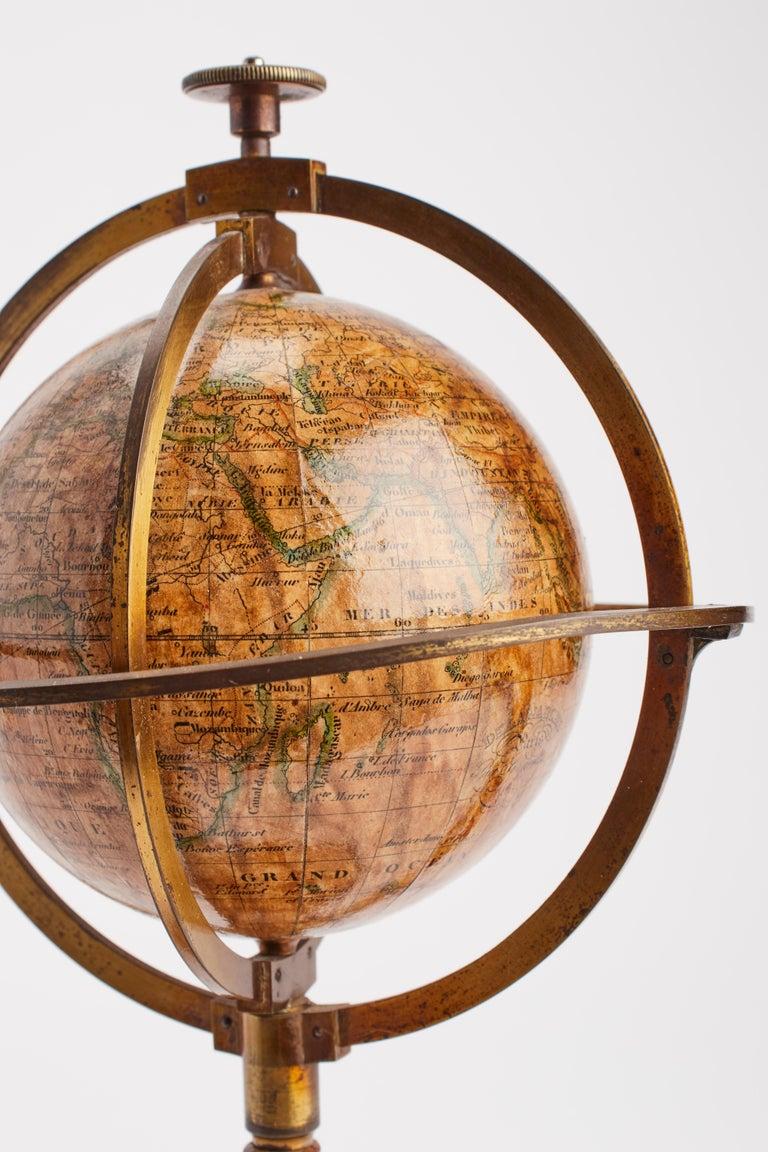 Mid-19th Century Terrestrial Globe Signed Delamarche, Paris, 1864 For Sale