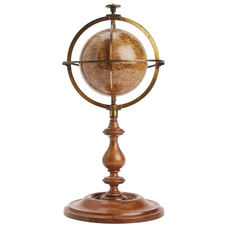 Terrestrial Globe Signed Delamarche, Paris, 1864 For Sale