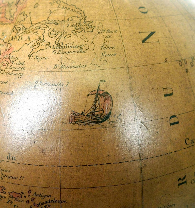 Terrestrial Globe French 18th Century, Most Unusual Swinging Structure For Sale 5