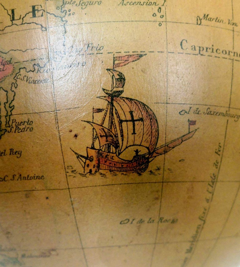 Terrestrial Globe French 18th Century, Most Unusual Swinging Structure For Sale 6
