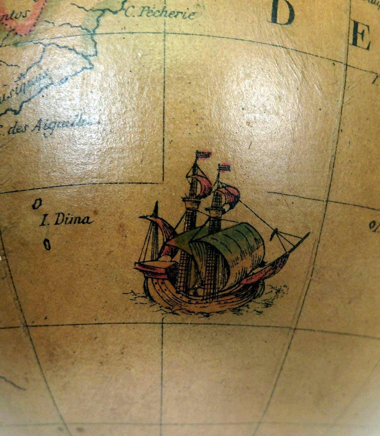 Terrestrial Globe French 18th Century, Most Unusual Swinging Structure For Sale 7