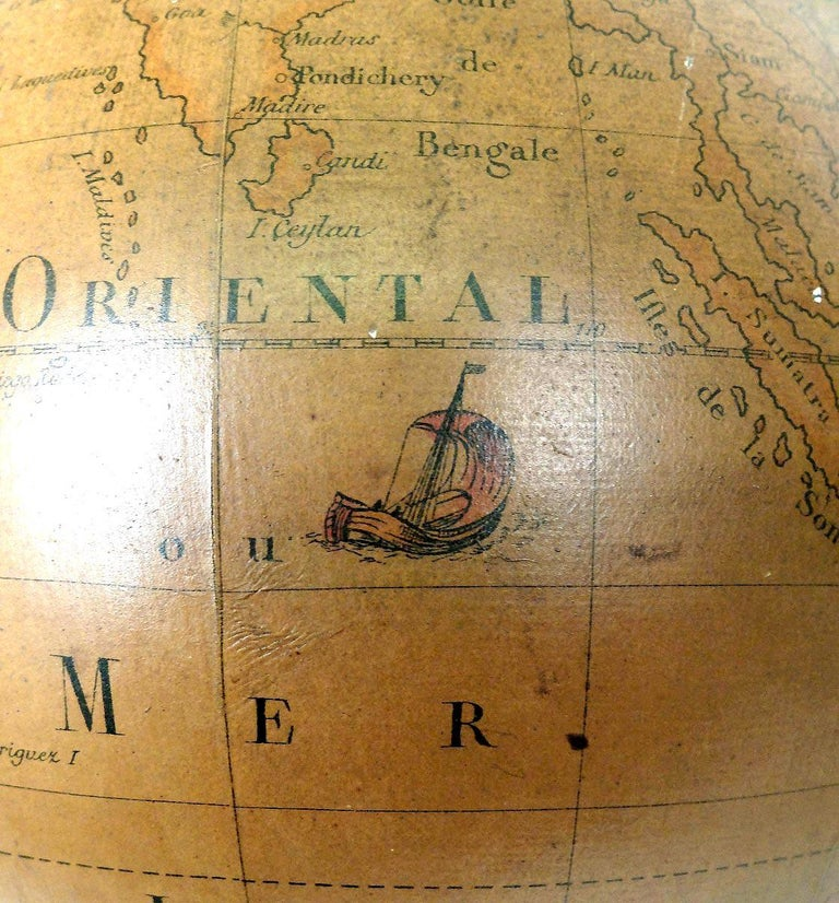 Terrestrial Globe French 18th Century, Most Unusual Swinging Structure For Sale 8