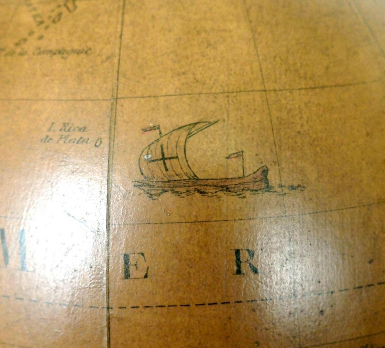 Terrestrial Globe French 18th Century, Most Unusual Swinging Structure For Sale 9