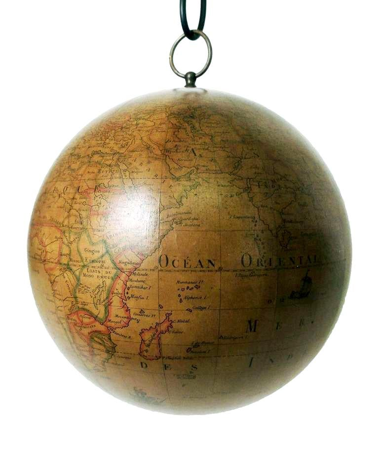 Mid-18th Century Terrestrial Globe French 18th Century, Most Unusual Swinging Structure For Sale