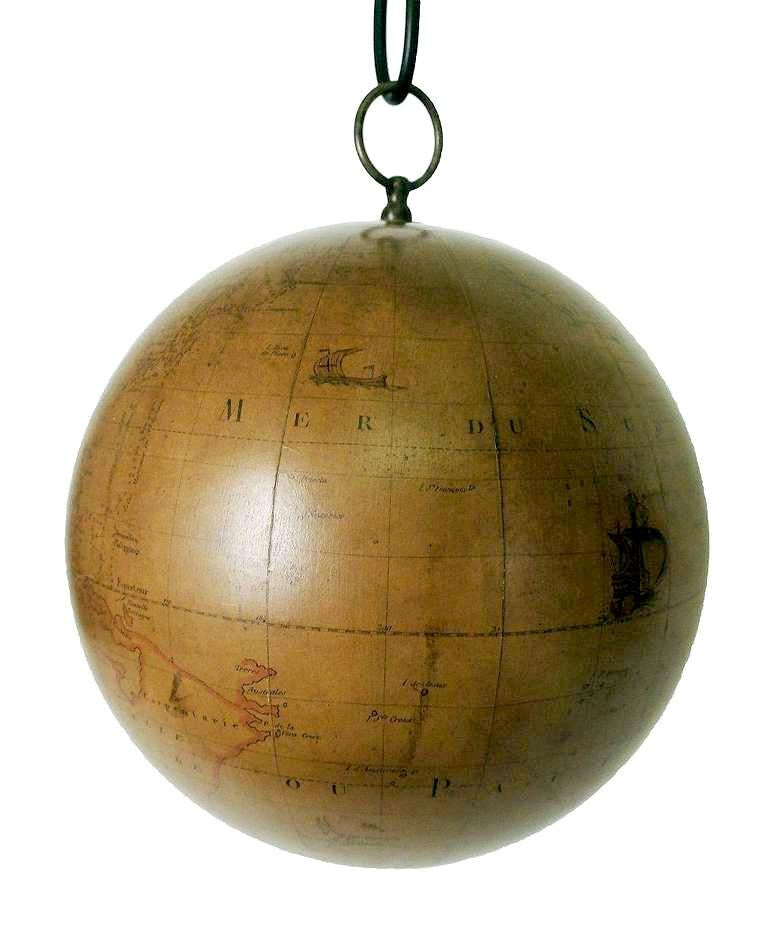 Wood Terrestrial Globe French 18th Century, Most Unusual Swinging Structure For Sale
