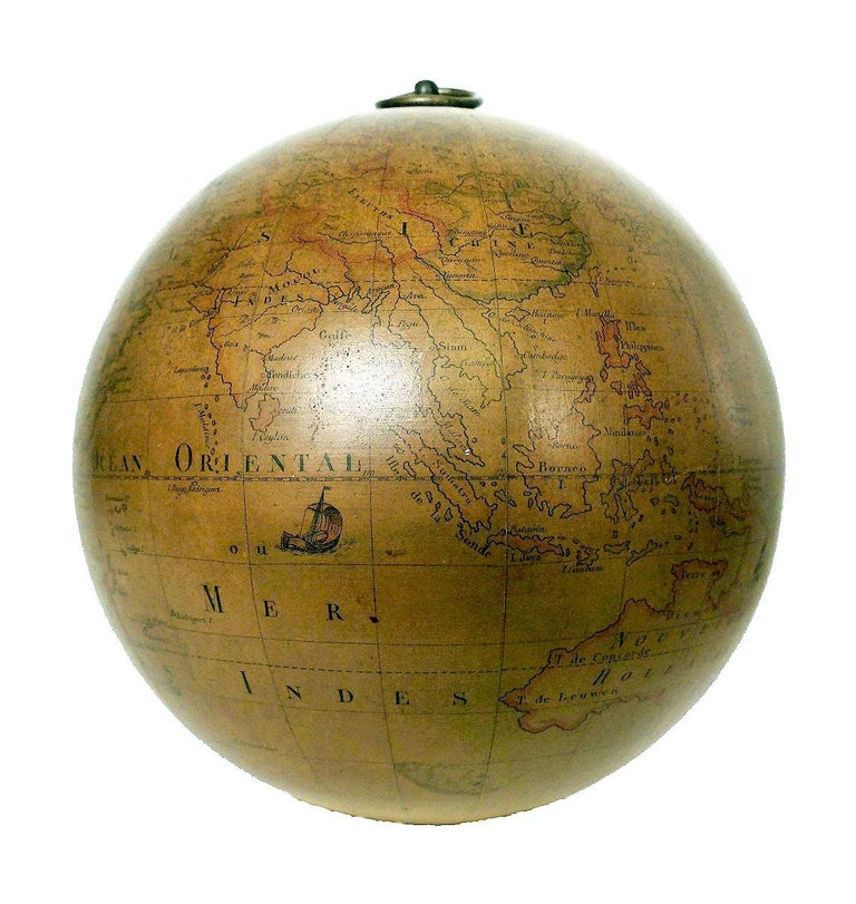 Terrestrial Globe French 18th Century, Most Unusual Swinging Structure For Sale 1