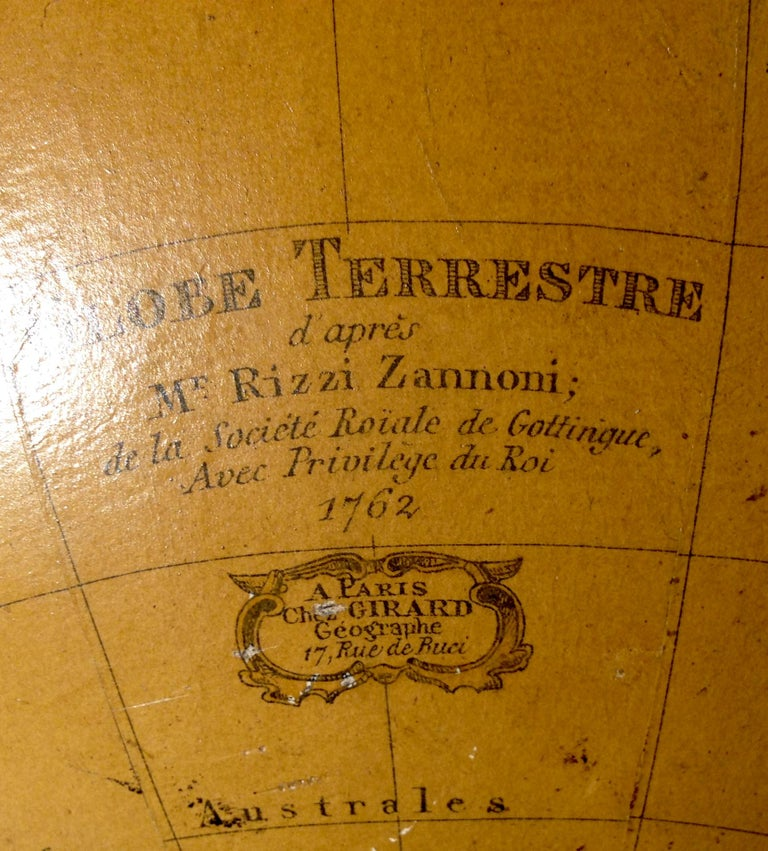 Terrestrial Globe French 18th Century, Most Unusual Swinging Structure For Sale 3