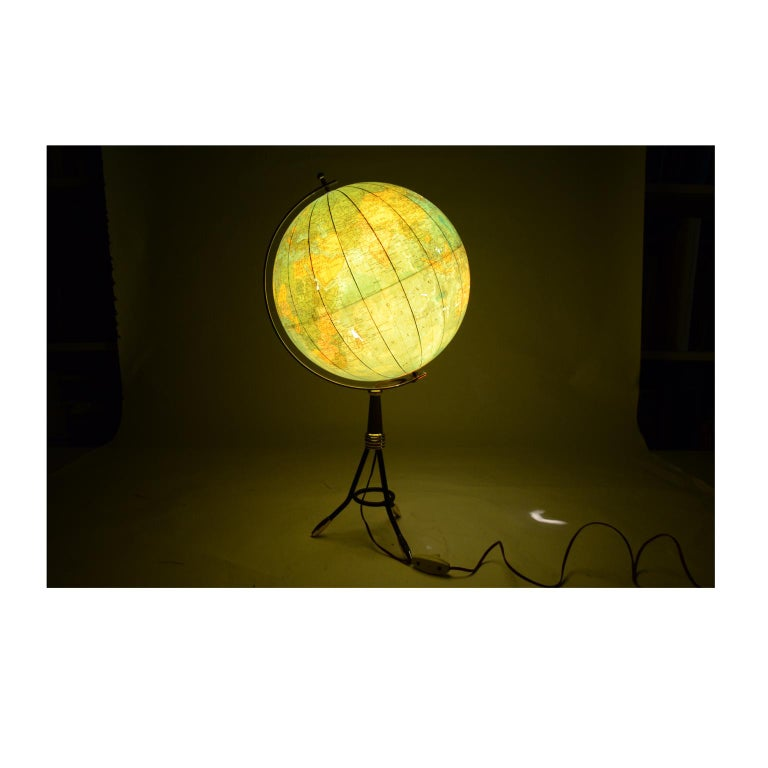 Terrestrial Globe Illuminated from the Inside, 1950s For Sale 8