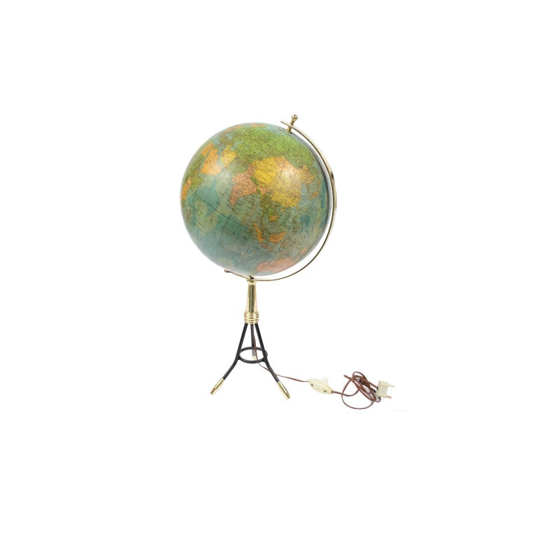 Terrestrial Globe Illuminated from the Inside, 1950s For Sale