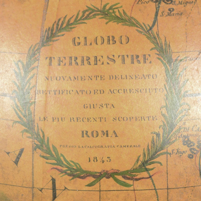 Terrestrial Globe Made According to the Knowledge of Giovanni Maria Cassini 1843 For Sale 9