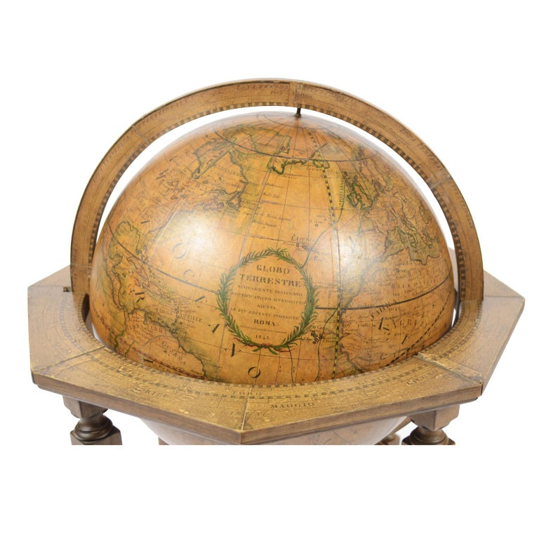 Italian Terrestrial Globe Made According to the Knowledge of Giovanni Maria Cassini 1843 For Sale