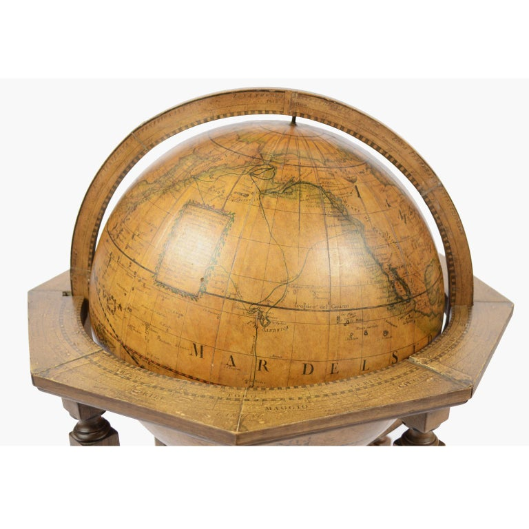 Mid-19th Century Terrestrial Globe Made According to the Knowledge of Giovanni Maria Cassini 1843 For Sale