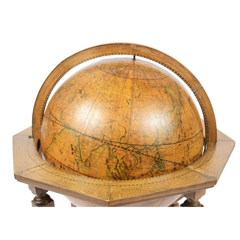 Wood 1843 Antique Terrestrial Globe  According to the Knowledge of Giovanni M Cassini For Sale