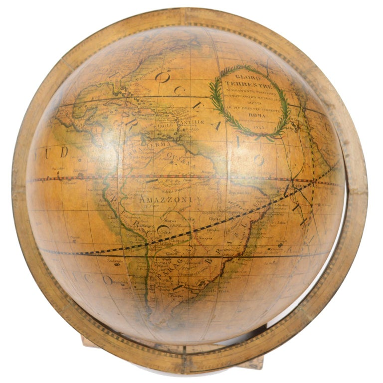 1843 Antique Terrestrial Globe  According to the Knowledge of Giovanni M Cassini For Sale 1