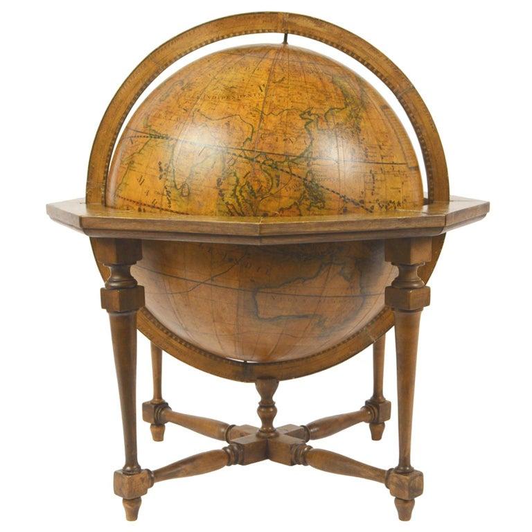 1843 Antique Terrestrial Globe  According to the Knowledge of Giovanni M Cassini For Sale