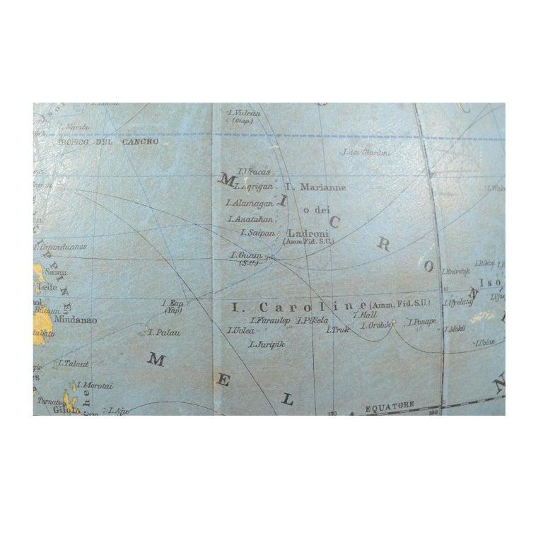 Antique Terrestrial Globe Walnut Base Published in 1950 by Vallardi Pubblisher For Sale 5