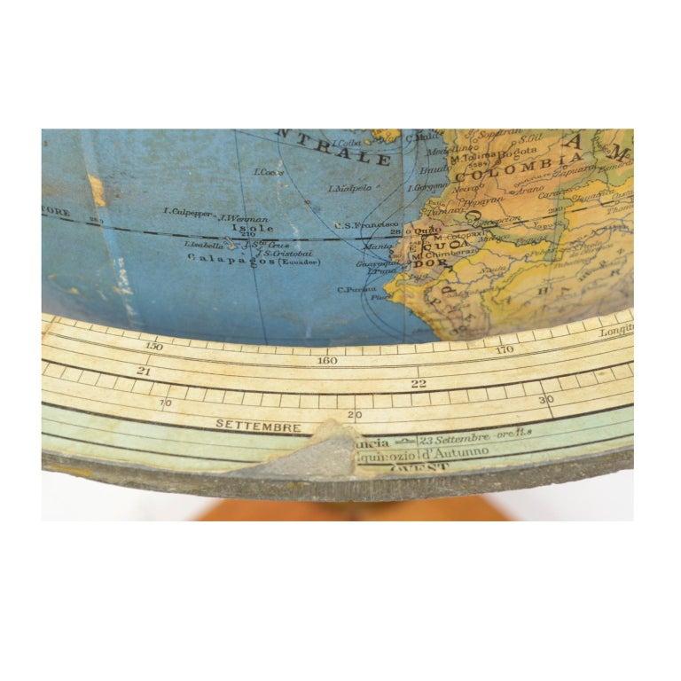Antique Terrestrial Globe Walnut Base Published in 1950 by Vallardi Pubblisher For Sale 7