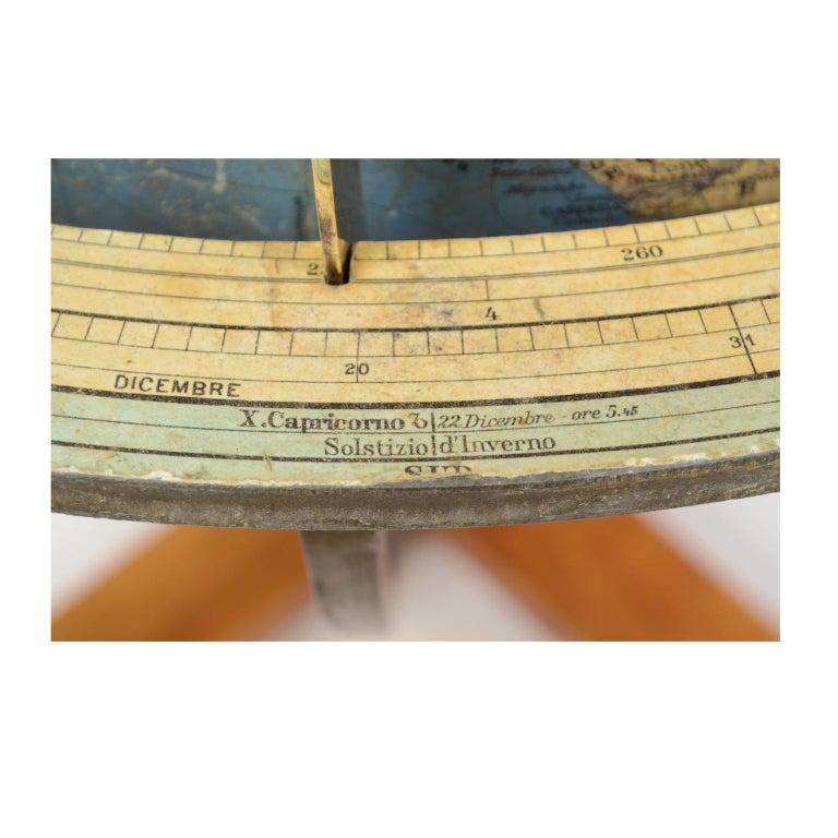 Antique Terrestrial Globe Walnut Base Published in 1950 by Vallardi Pubblisher For Sale 8