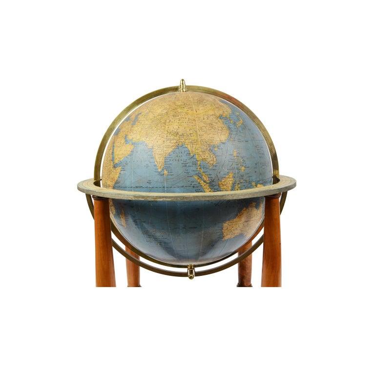 Italian Antique Terrestrial Globe Walnut Base Published in 1950 by Vallardi Pubblisher For Sale