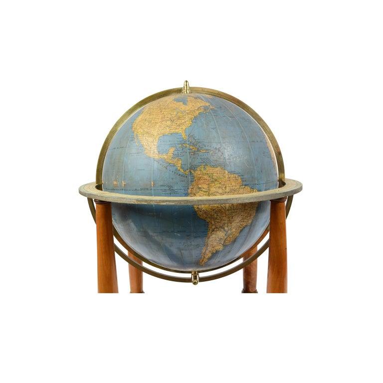 Brass Antique Terrestrial Globe Walnut Base Published in 1950 by Vallardi Pubblisher For Sale