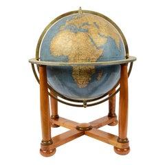 Antique Terrestrial Globe Walnut Base Published in 1950 by Vallardi Pubblisher