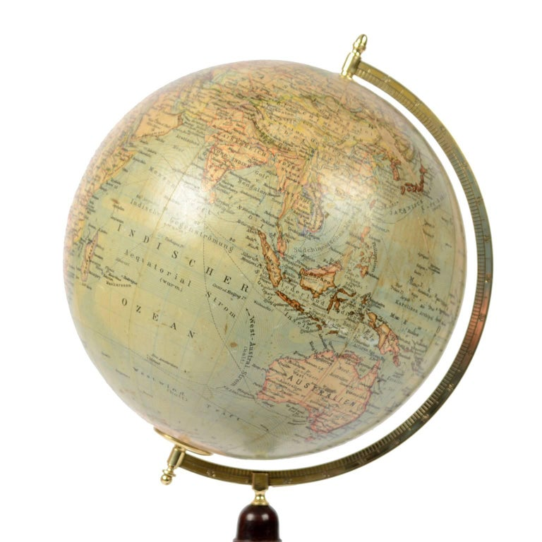 German Terrestrial Globe Published in Leipzig, Second Half of the 19th Century For Sale