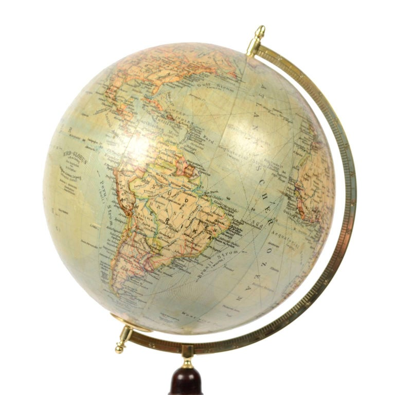 Mid-19th Century Terrestrial Globe Published in Leipzig, Second Half of the 19th Century For Sale