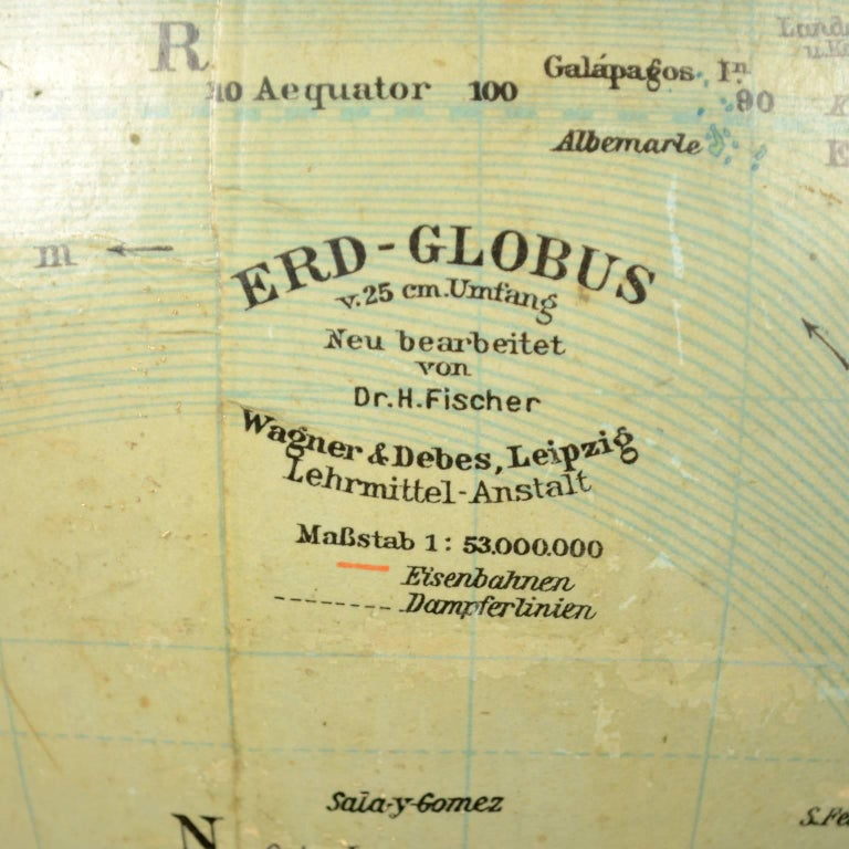 Terrestrial Globe Published in Leipzig, Second Half of the 19th Century For Sale 2