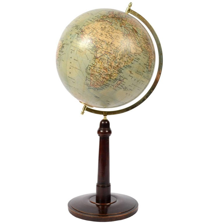 Terrestrial Globe Published in Leipzig, Second Half of the 19th Century For Sale
