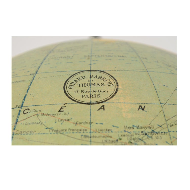 Terrestrial Globe Published in the 1940s by Girard Barrère et Thomas, Paris For Sale 5