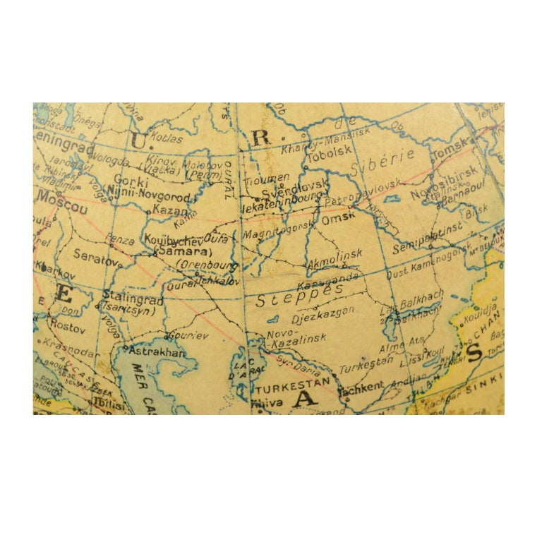 Terrestrial Globe Published in the 1940s by Girard Barrère et Thomas, Paris For Sale 8