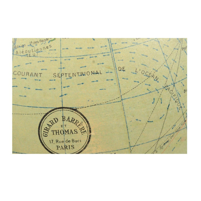 Terrestrial Globe Published in the 1940s by Girard Barrère et Thomas, Paris For Sale 11