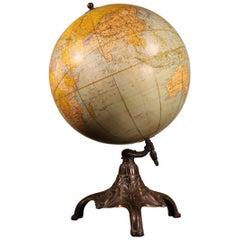 Terrestrial Globe Rand Mcnally & Co Cast Iron Base