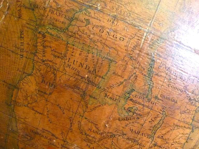 Terrestrial Globe with Wooden Base, Italy, 1880 In Good Condition In Milan, IT