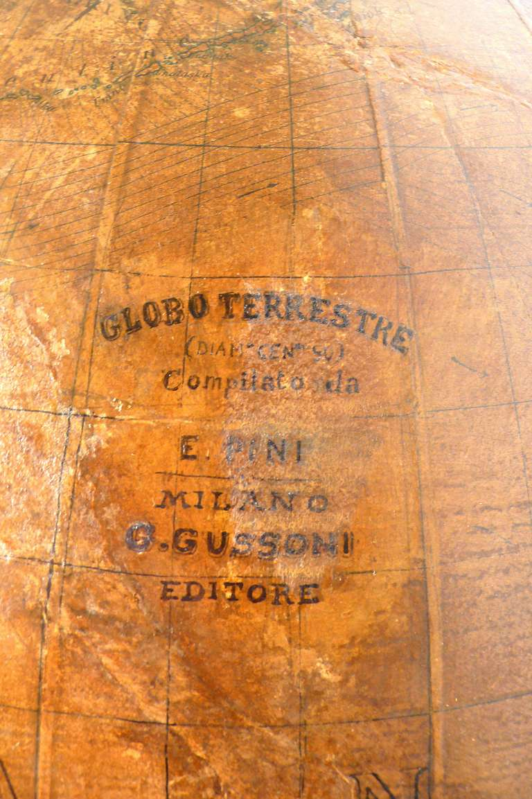 19th Century Terrestrial Globe with Wooden Base, Italy, 1880