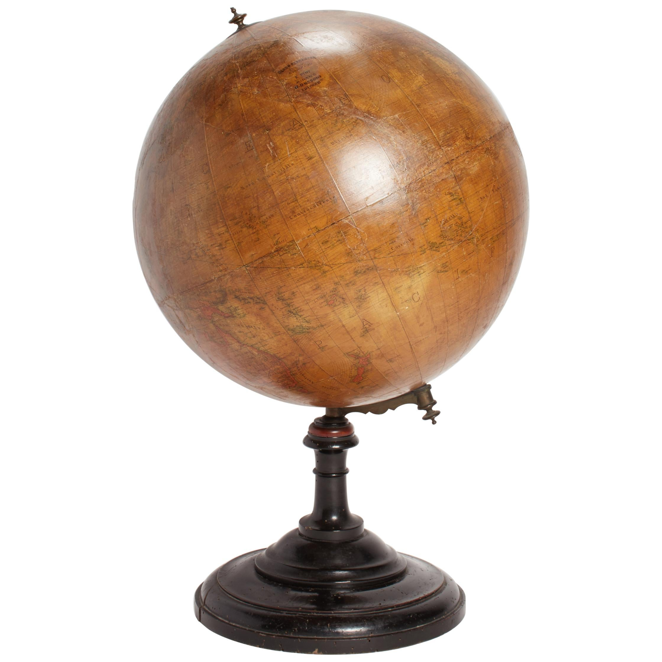 Terrestrial Globe with Wooden Base, Italy, 1880