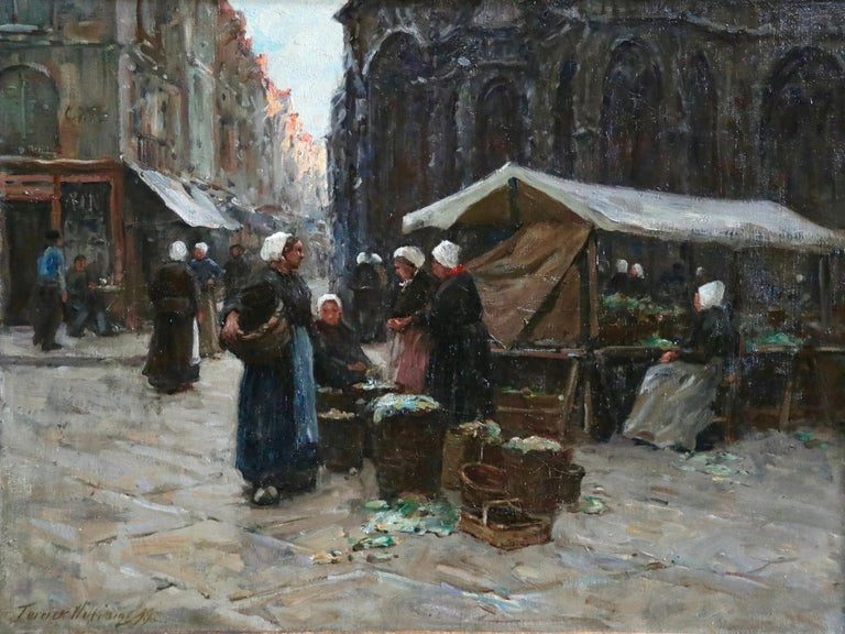 Market Day - Dieppe - 19th Century Oil, Figures in Cityscape by Terrick Williams For Sale 1