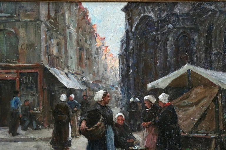 Market Day - Dieppe - 19th Century Oil, Figures in Cityscape by Terrick Williams For Sale 2