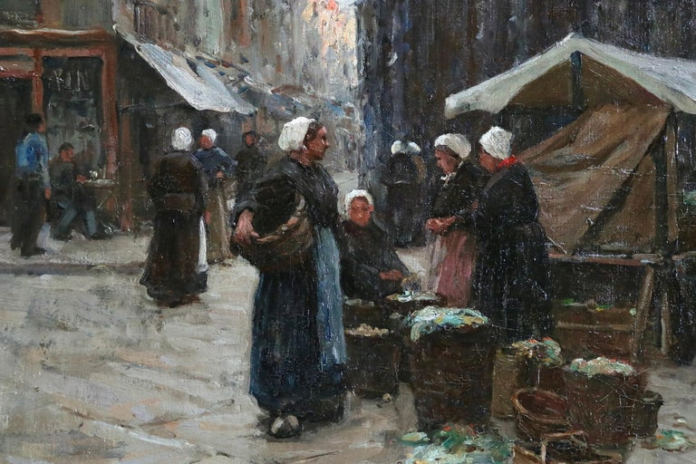 Market Day - Dieppe - 19th Century Oil, Figures in Cityscape by Terrick Williams For Sale 3