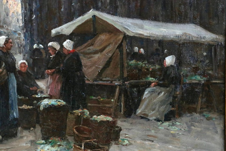Market Day - Dieppe - 19th Century Oil, Figures in Cityscape by Terrick Williams For Sale 4